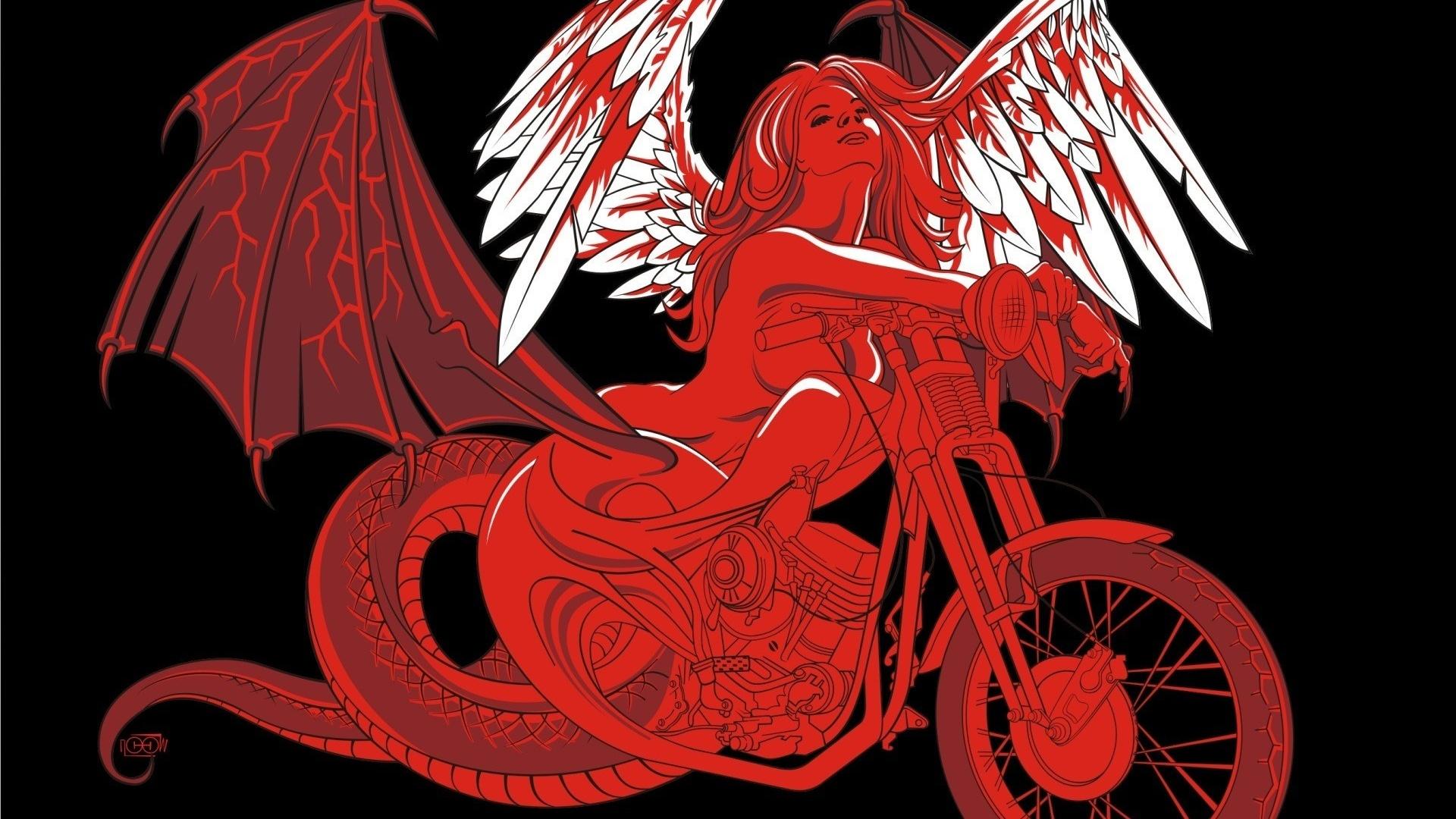 Девушка и мотоцикл рисунок