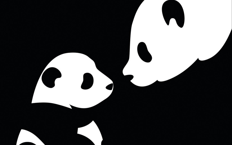 Обои мама, ребёнок, панда, Чёрно-белое.