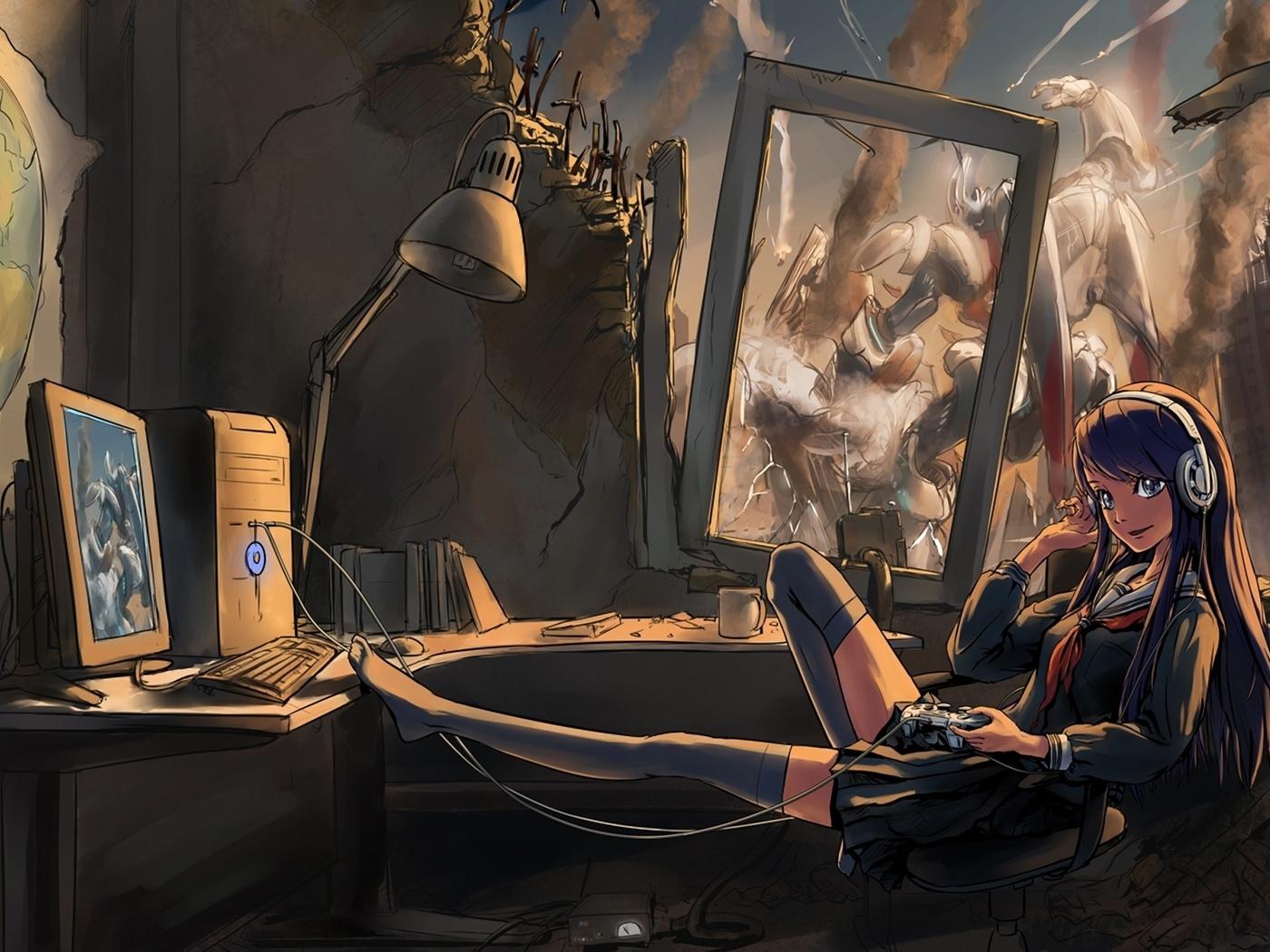 Картинка на рабочий стол на тему меха, джойстик, наушники, девушка