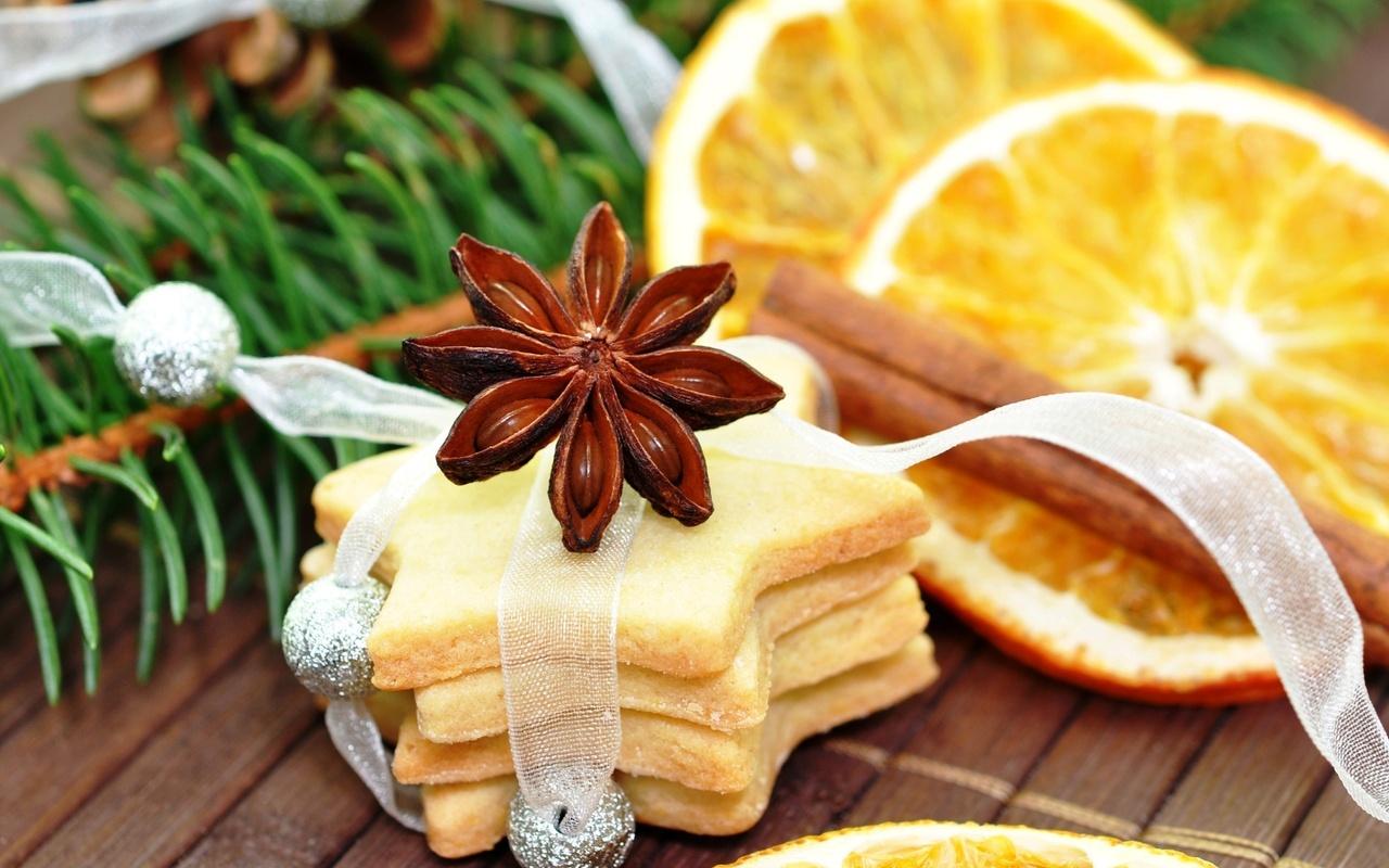 Скачать печенье, бадьян, анис, корица, апельсин, ветка, ель, шишка, Новый Год, Рождество, Новый год, картинки на рабочий стол -