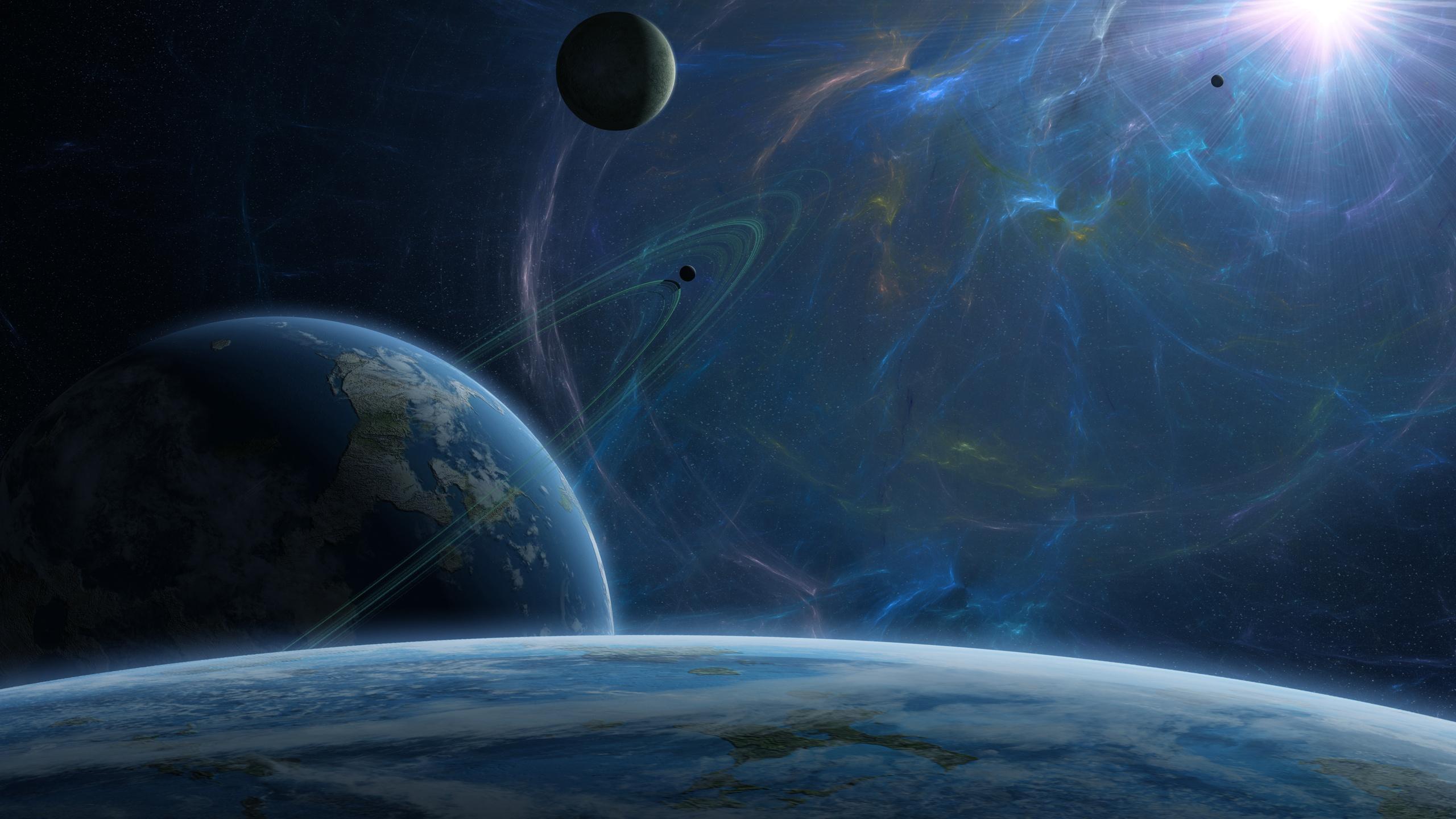 Широкоформатные обои кольца, планеты, Космос, спутник, энергия, звезда