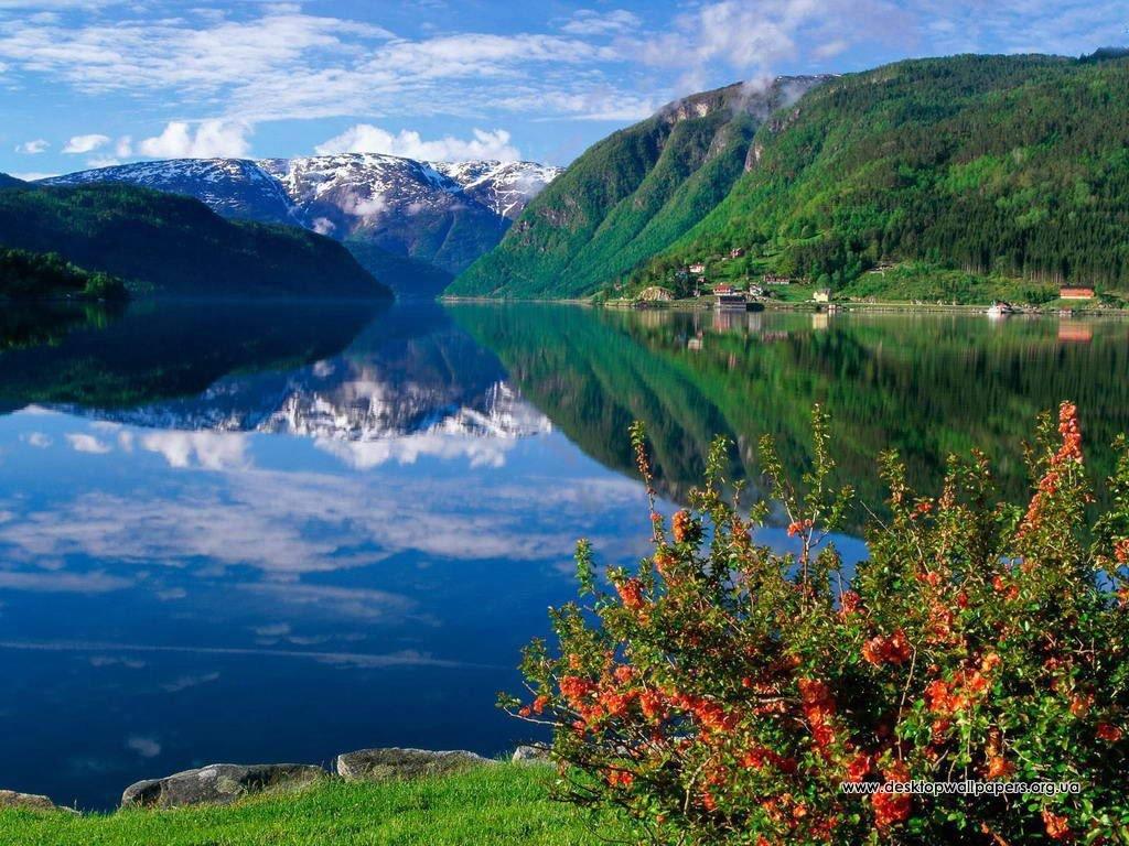 Шпалери гори і ставок (переглянути