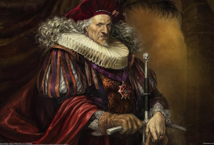 Портрет старик вампир с мечем