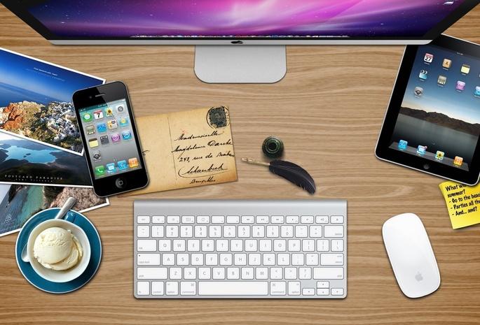 Обои клавиатура, монитор, планшетка, телефон, фото, мороженое для рабочего стола, картинки Hi-tech на рабочий стол