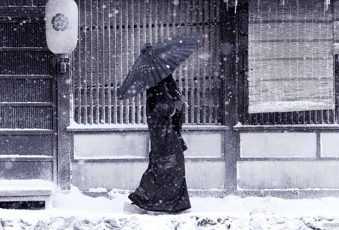 Япония женщина зонт снег зима