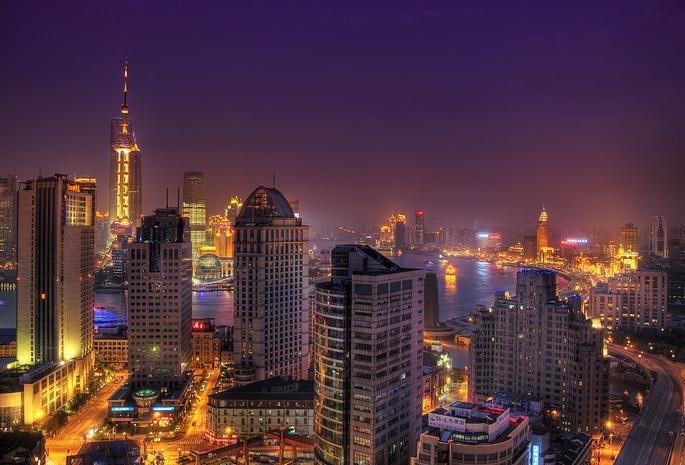 Огни город шанхай китай азия