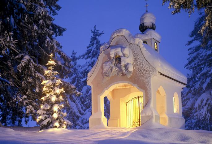 Елка снег рождество часовня зима