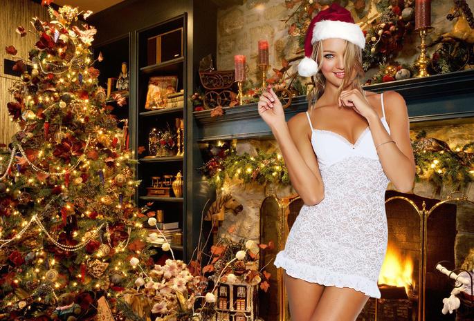 Картинки на рабочий стол девушки и новый год