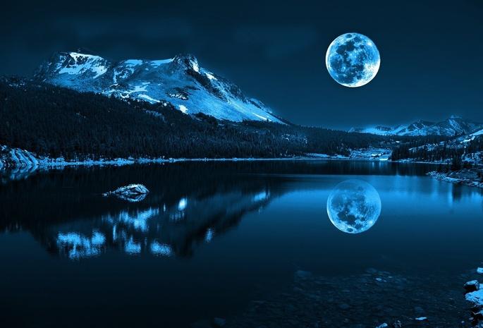 Снег луна пейзаж горы природа море