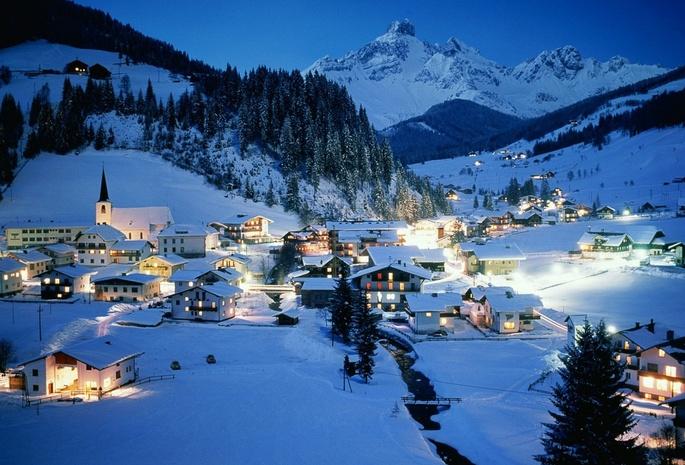 Обои зима ночь австрия курорт austria