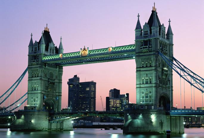 Англия лондон город вода вечер мост
