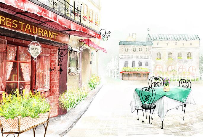 Город здания цветы рисунок улица