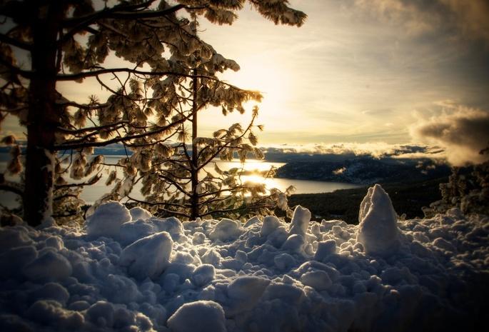 Озеро зима winter снег природа lake tahoe