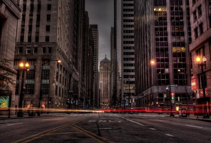 Город ночь дорога огни здания