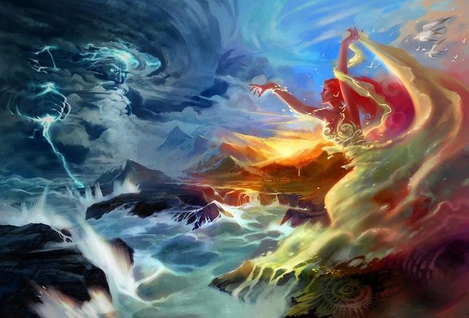 Девушка jian guo боги молния чайки горы