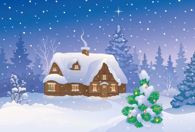 Merry christmas, new year, snow, christmas tree, winter home