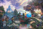 thomas kinkade, Cinderella wishes upon a dream, film, animated, painting, a ...