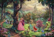 Sleeping beauty, animated film, walt disney, art, thomas kinkade, painting