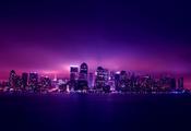 Night город небоскребы огни city manhattan