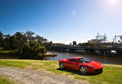 458 italia, ferrari, bridge, red, феррари, trees, италия