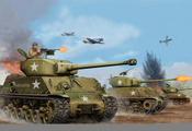 1944г, usa, Арт, m4a3 e8, the, sherman, средний, танк, easy, eight, танк