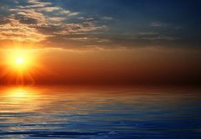 Море, небо, закат, солнце, горизонт