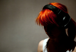 headphones, Hayley williams, girl, рыжая, rude