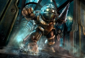 Bioshock, Big Daddy, Биошок, Rapture, Восторг, Город, Океан, Вода