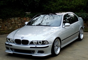 BMW M5, E39, 5 Series, БМВ, Пятёрка, M5, Angel Eyes, Серебристый