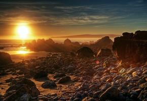 Солнце, Закат, Море, Камни