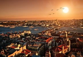 city, istanbul, закат, Turkey, scenery, стамбул, вечер, панорама
