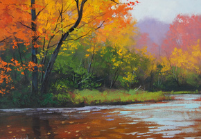 autumn stream, artsaus, арт, рисунок