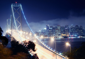 bay bridge, san francisco, california, night