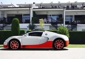 hotel, veyron, supercar, bugatti, grand sport, vitesse, red, white