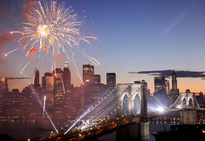 usa, new york, Fireworks, brooklyn bridge, салют, фейерверк, америка