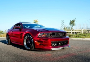 Car, automobile, ford, beautiful, desktop, tuning, gt500, mustang, chrome, red, wallpapers