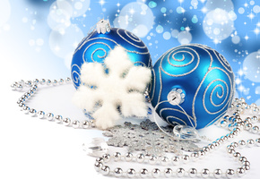 diamonds, blue balls, necklace, new year, Merry christmas, jewelry, lights, bokeh, decoration