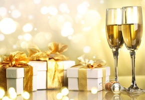 merry christmas, Champagne, happy new year, gifts, ribbon, christmas, holiday, boxes