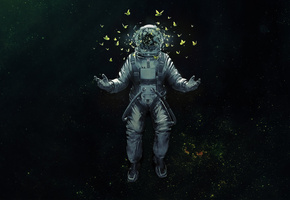 арт, бабочки, космос, space, Astronaut, скафандр