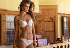 фигура, белье, нина агдал, шатенка, модель, белое, Nina agdal