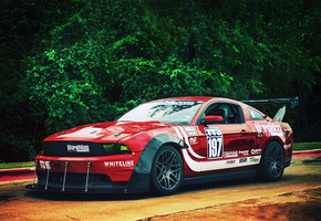gt, red, mustang, front, race car, обвес, Ford