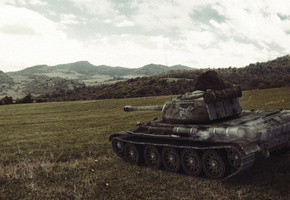 world of tanks, танки, wargaming.net, т-44, танк, холмы, Wot, поле