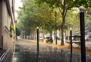 дождь, франция, город, улица, тротуар, париж, france, Paris