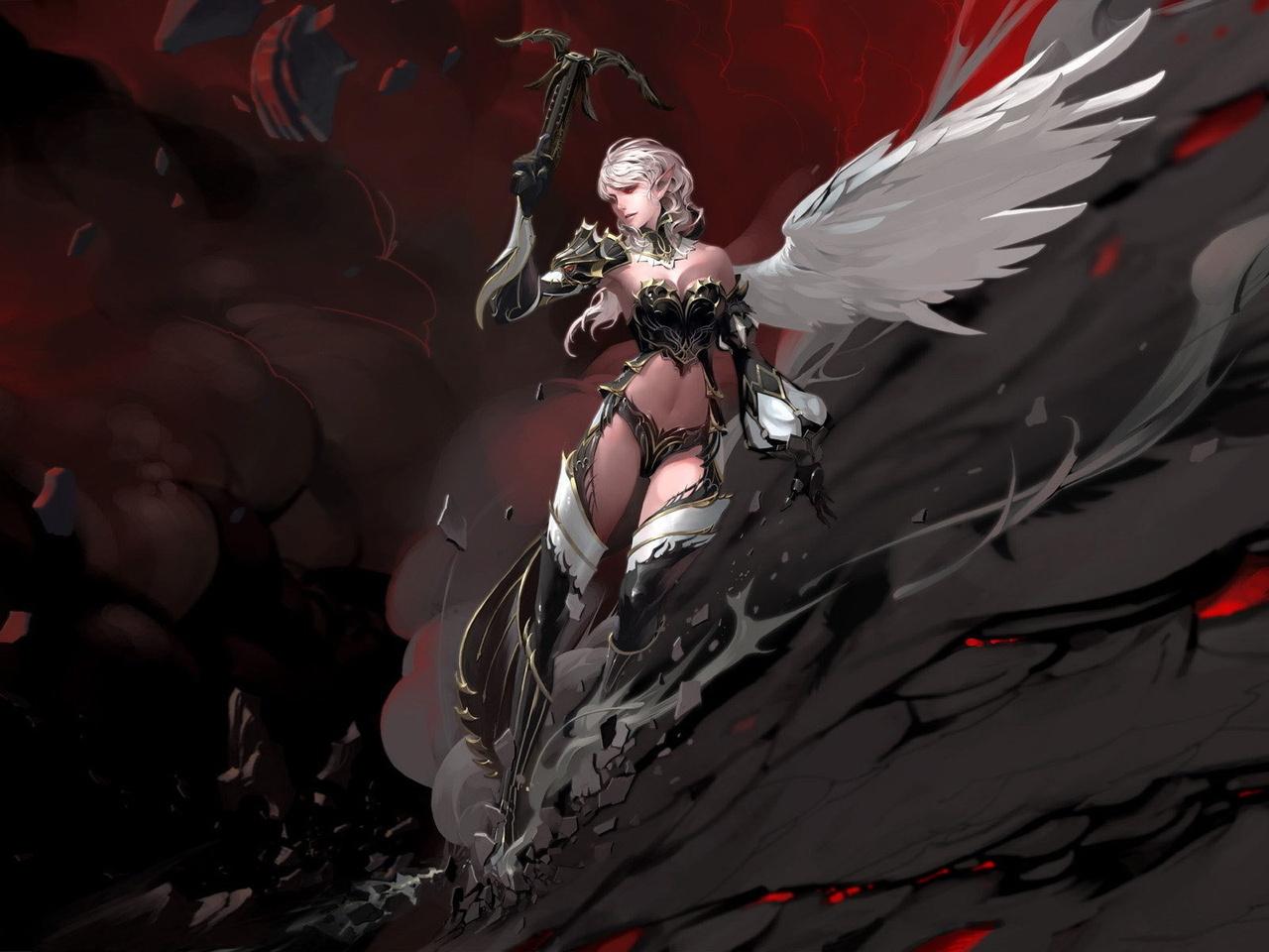 Данная картинка называется 017830 (Девушка, крылья, скала, lineage 2