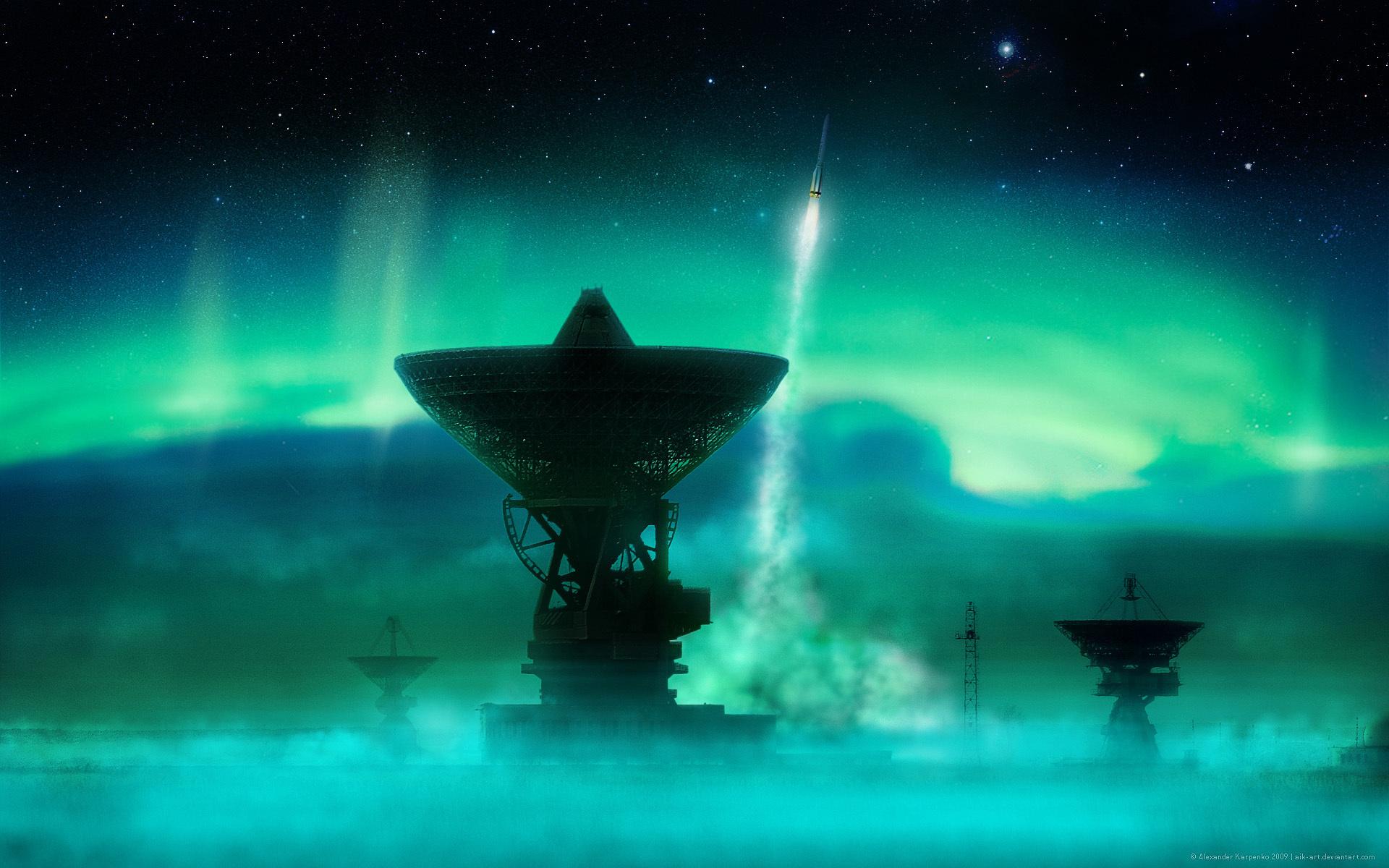 синее сияние, ракеты, антенны, радиотелескоп