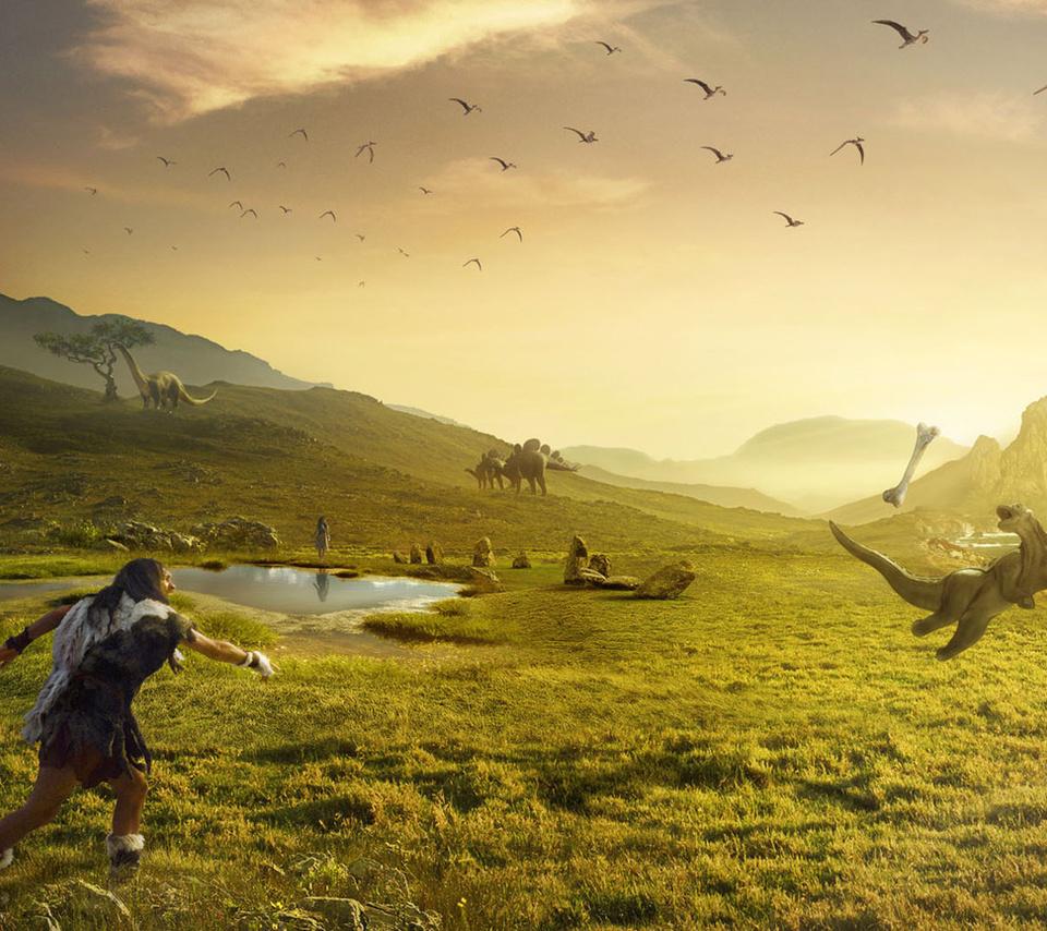 динозавр ловит косточку