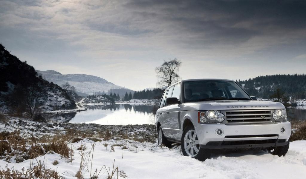 Обои машина, внедорожник, Range Rover, снег, озеро, горы, небо, автомобили, машины, авто, фото, обои на рабочий стол, изображени