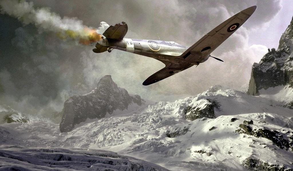 spitfire, подбитый, спитфаер, самолет, дым, падение, авария, война, горы, снег, зима, военная техника, авиа
