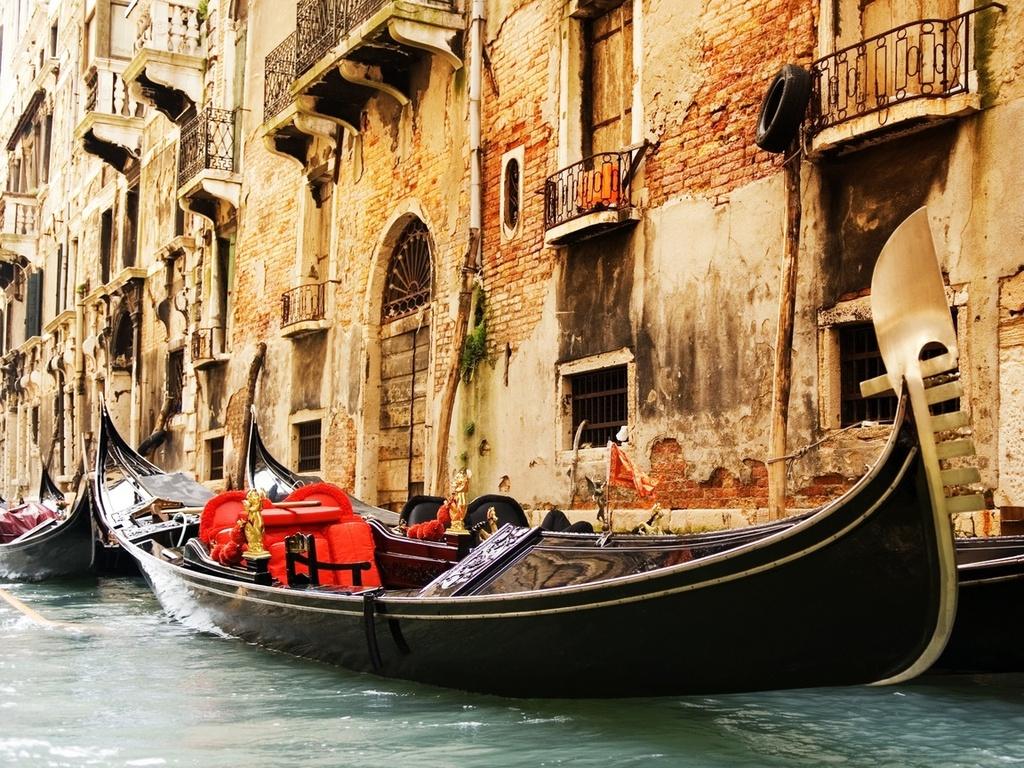 Venice, италия, венеция, гондолы, канал, архитектура, здания, окна, болконы, нью-йорк, фон, города