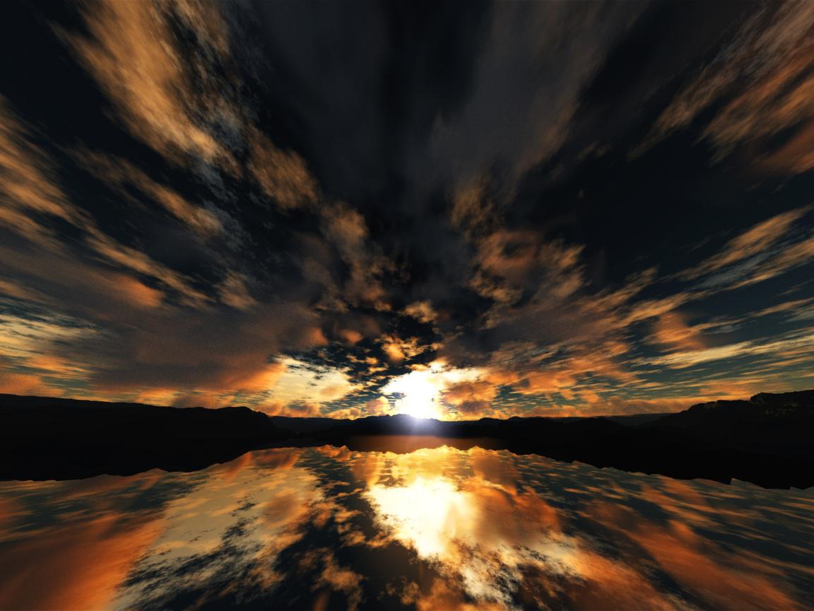 Небо, тучи, свет, закат, отражение, вечер, рисунки, аниме